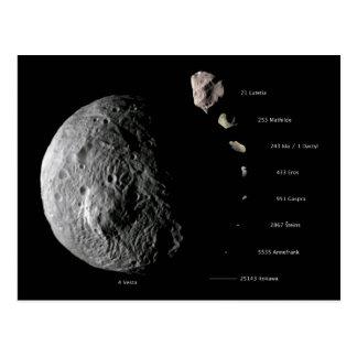 Gráfico de tallas comparativo de nueve asteroides postal