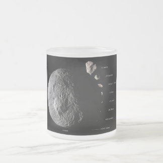Gráfico de tallas comparativo de nueve asteroides taza cristal mate