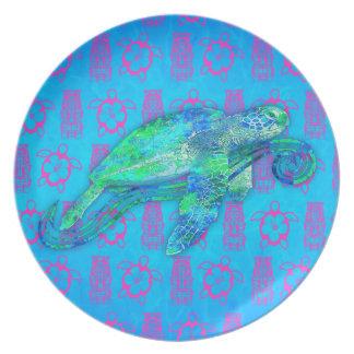 Gráfico de tortuga de mar plato de cena
