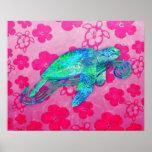 Gráfico de tortuga de mar poster