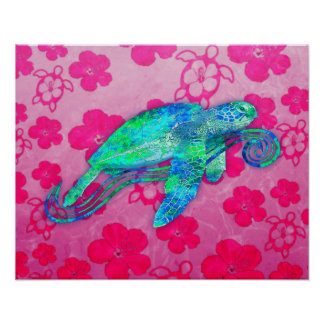 Gráfico de tortuga de mar póster