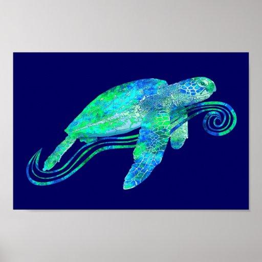 Gráfico de tortuga de mar posters
