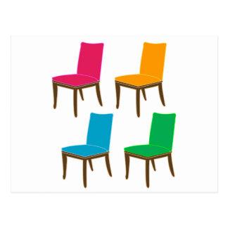 Gráfico de una silla de cena postal