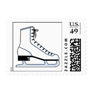 gráfico de vector blanco del patín de hielo sello postal