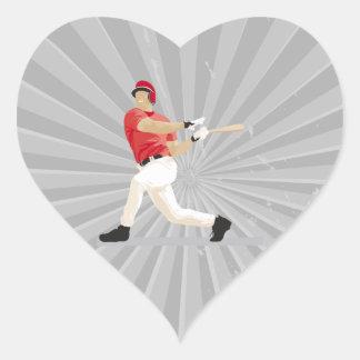 gráfico de vector de balanceo del bateador del pegatina en forma de corazón
