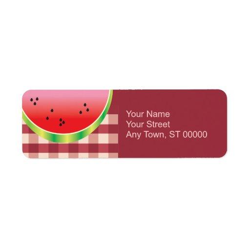 gráfico de vector de la sandía de la comida campes etiqueta de remitente