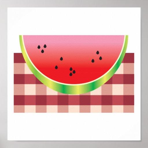 gráfico de vector de la sandía de la comida campes póster