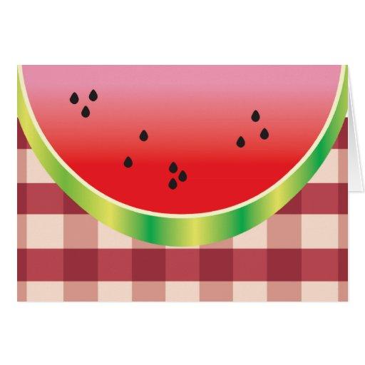 gráfico de vector de la sandía de la comida tarjeta de felicitación
