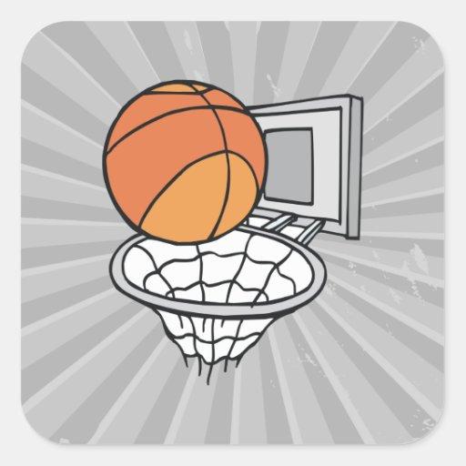 gráfico de vector del baloncesto y de la red pegatina cuadrada