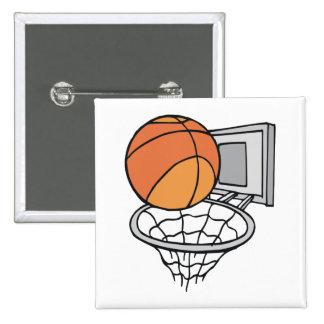 gráfico de vector del baloncesto y de la red pin cuadrada 5 cm