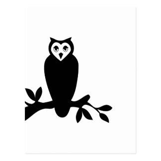 Gráfico de vector elegante de la silueta del búho tarjetas postales