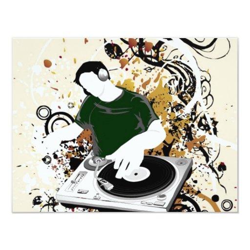 """gráfico de vector libre de DJ Invitación 4.25"""" X 5.5"""""""