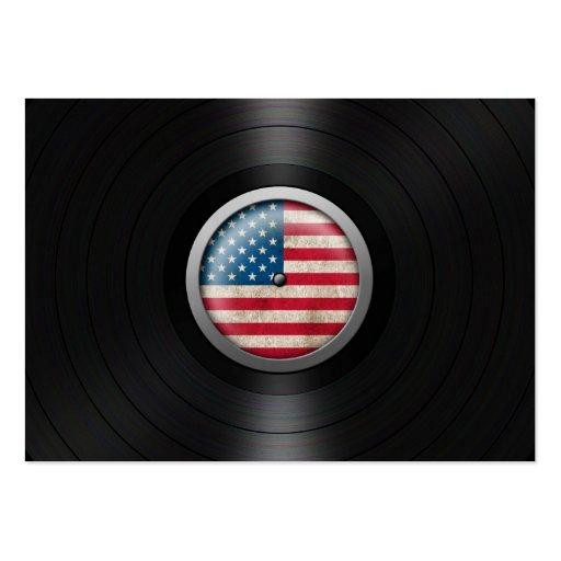 Gráfico del álbum de disco de vinilo de la bandera plantilla de tarjeta de visita