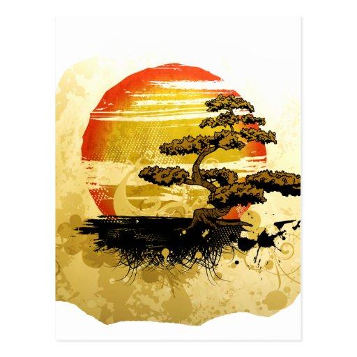 Gráfico del árbol de los bonsais del vintage en tarjeta postal