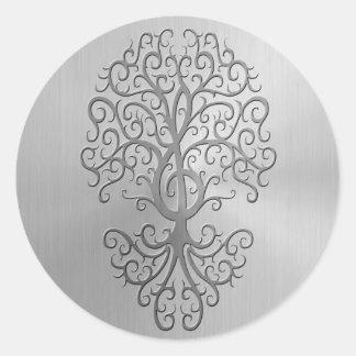 Gráfico del árbol del Clef agudo del efecto del Pegatina Redonda