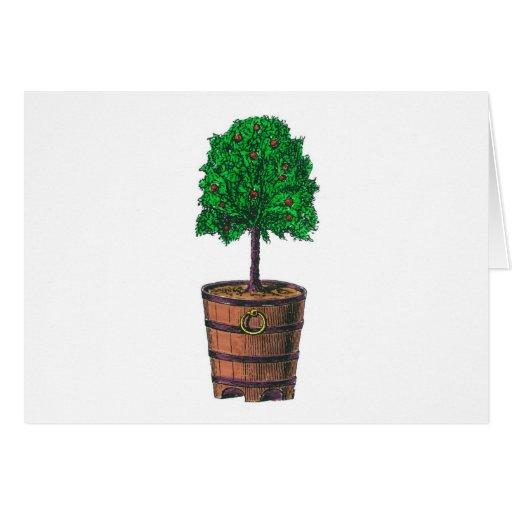 Gráfico del árbol en cubo de madera del barril felicitaciones