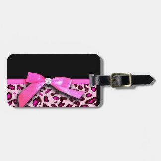 Gráfico del arco de la cinta del estampado leopard etiquetas de equipaje