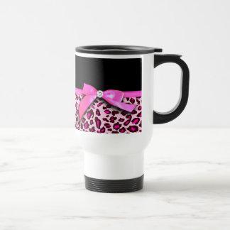 Gráfico del arco de la cinta del estampado leopard tazas de café