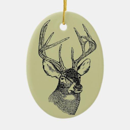 Gráfico del arte de los ciervos del vintage adorno navideño ovalado de cerámica