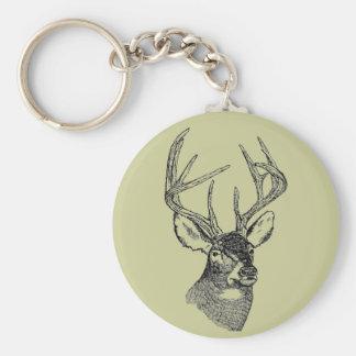 Gráfico del arte de los ciervos del vintage llavero redondo tipo pin