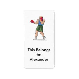 gráfico del boxeador de la postura del boxeo etiqueta de dirección