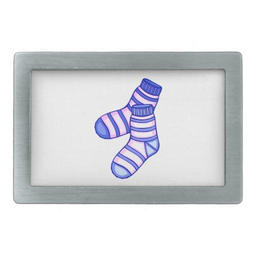 Gráfico del calcetín del bebé rosado y azul hebilla de cinturon rectangular