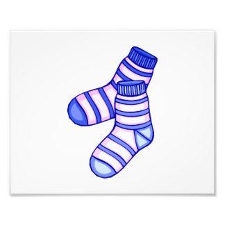 Gráfico del calcetín del bebé rosado y azul arte con fotos