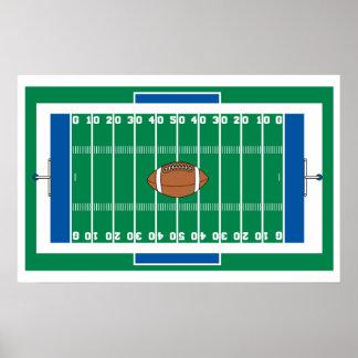 gráfico del campo de fútbol del hierro de la rejil poster