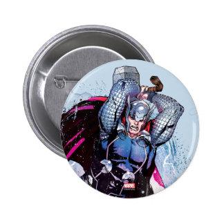 Gráfico del carácter de la acuarela del Thor Pin Redondo De 2 Pulgadas
