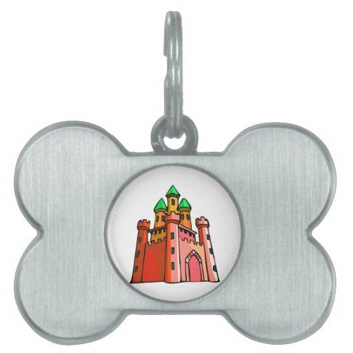 Gráfico del castillo de la perspectiva placas de nombre de mascota