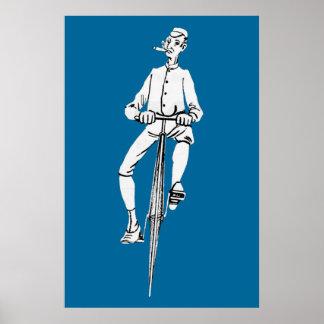 Gráfico del cigarro del individuo de la bicicleta  póster