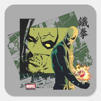 Gráfico del cómic del Iron Fist Pegatina Cuadrada