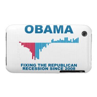 Gráfico del crecimiento de empleo de Obama Carcasa Para iPhone 3