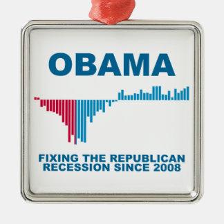Gráfico del crecimiento de empleo de Obama Adorno Cuadrado Plateado