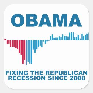 Gráfico del crecimiento de empleo de Obama Calcomanía Cuadradas