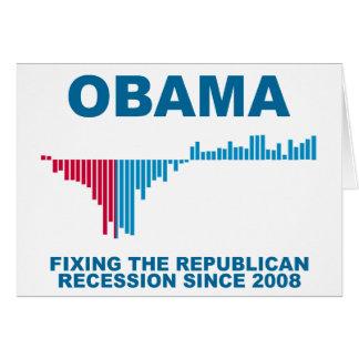 Gráfico del crecimiento de empleo de Obama Tarjeta De Felicitación
