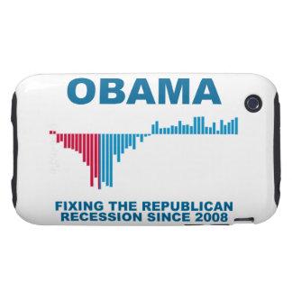 Gráfico del crecimiento de empleo de Obama Tough iPhone 3 Cárcasas