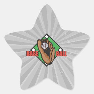gráfico del diamante de béisbol pegatina en forma de estrella