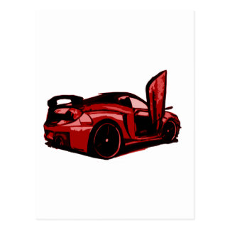 Gráfico del dibujo animado del coche de deportes postales