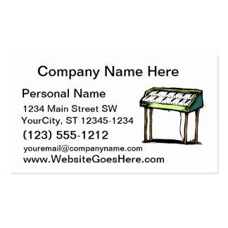 Gráfico del diseño del piano del órgano eléctrico tarjetas de visita