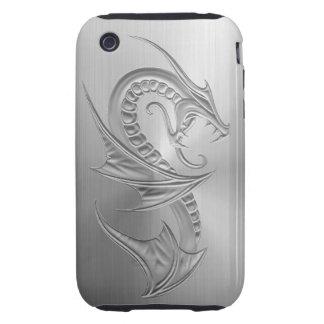Gráfico del dragón del efecto del acero inoxidable iPhone 3 tough cárcasa