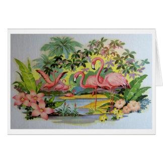 Gráfico del flamenco del vintage de los mediados tarjeta de felicitación