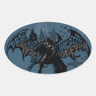 Gráfico del goteo de la pintura de Batman Gotham Pegatina Ovalada