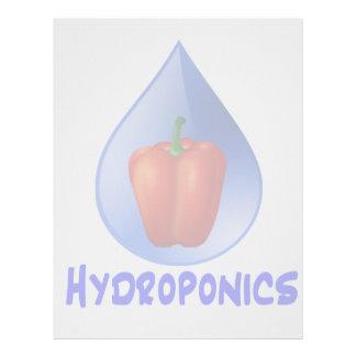 Gráfico del hidrocultivo, pimienta hidropónica y d membrete personalizado