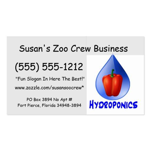 Gráfico del hidrocultivo, pimienta hidropónica y d tarjetas de visita