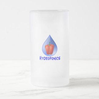 Gráfico del hidrocultivo, pimienta hidropónica y taza de cristal