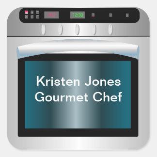 Gráfico del horno con el texto personalizado pegatina cuadrada