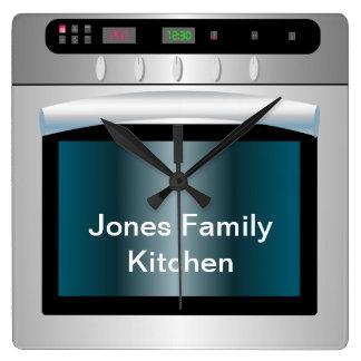 Gráfico del horno con el texto personalizado reloj cuadrado