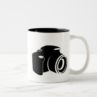 Gráfico del icono de la fan de la fotografía del taza de dos tonos