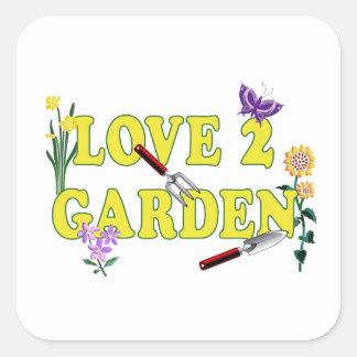Gráfico del jardín del amor 2 pegatina cuadradas personalizada